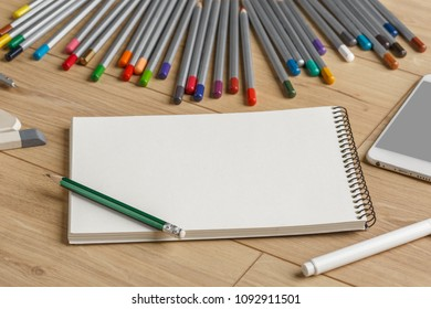 Stationery. View from above. Template for design.