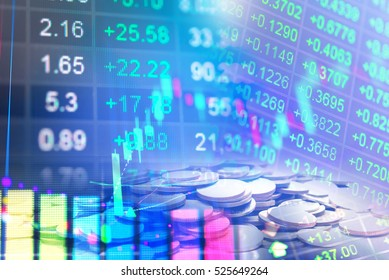 Statistic graph stock market data and finance indicator analysis from LED display. including finance statistic graph stock market education or marketing analysis. Stock analysis indicator background.
