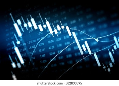 Statistic graph of stock market data and finance indicator analysis by LED display. Finance statistic graph stock education and marketing analysis. Stock market financial analysis indicator background