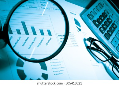 Statistics accounting info, which including of many economic statistics such as bar chart and pie diagram on digital information screen. - Business Research Data Economy Statistics Concept.