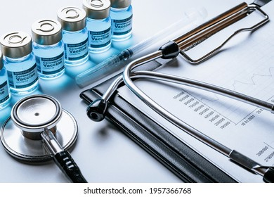 Statistics covid. Doctor stethoscope, hospital healthcare infographic charts and analytic medical statistics on hospital background. Global economy recovery after Covid 19 concept
