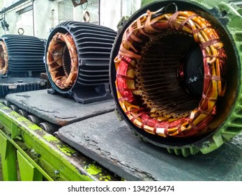 Stator motor in repair center.,soft focus.