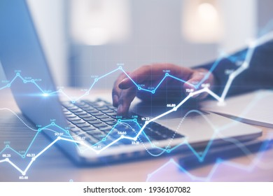 Stats data network concept with abstract digital growing statistic indicators on background with man hand typing on laptop keyboard. Double exposure