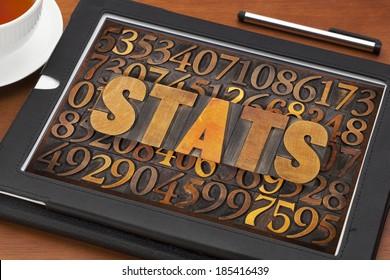 stats (statistics) word in vintage letterpress wood type against number background on a screen of digital tablet
