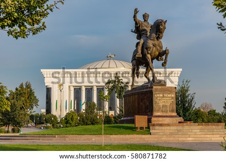 A statue of the 14th century Uzbek leader Tamerlane stands on Amir Timur maydoni, a square in the center of Tashkent, Uzbekistan.