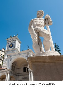 Statue of the 16 century. Statue of Hercules. Medieval art. Udine,Italy