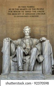 The statue of Abraham Lincoln inside Lincoln Memorial.