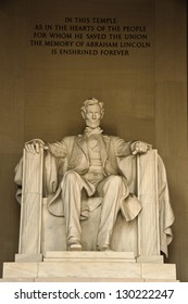 Statue of Abraham Lincoln at the Lincoln Memorial. National Mall, Washington DC