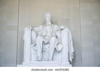 The statue of Abraham Lincoln at Lincoln Memorial in Washington - WASHINGTON DC / COLUMBIA - APRIL 7, 2017