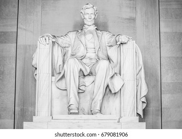 The statue of Abraham Lincoln at Lincoln Memorial in Washington