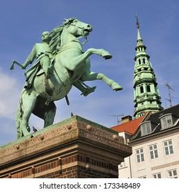 Statue of Absalon on Hojbro square in Copenhagen, Denmark