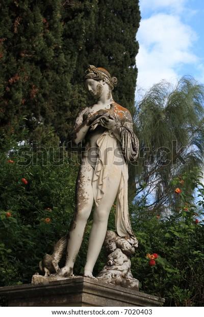 Statue in Achillion Palace corfu