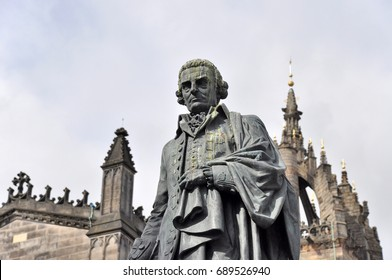 Statue of Adam Smith in Edinburgh in front of St.Giles Cathedral at Parliament Square.