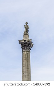 Statue of Admiral Nelson on top of Nelson's Column in Trafalgar Square, Westminster, Central London. Monument built to commemorate Admiral Horatio Nelson, who died at Battle of Trafalgar in 1805.