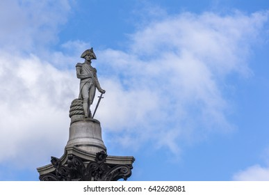 Statue of Admiral Nelson that sits ontop of Nelson's Column in London.