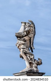 statue at Aelian bridge also known unter name bridge of the holy angels which lead to the castel sant' Angelo, the castle of the holy angel in Rome, Italy