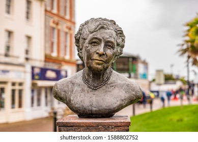 Statue of Agatha Christie, a famous mystery writer in Torquay Town, United KIngdom