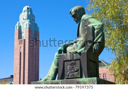 Kivi Den Haag.Statue Aleksis Kivi Tower Helsinki Railway Stock Photo Edit Now