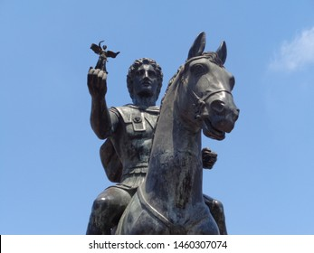 Statue of Alexander The Great riding on the horse at Alexandria-Egypt