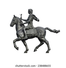 Statue of Alexander The Great Riding on His Horse Isolated on White Background