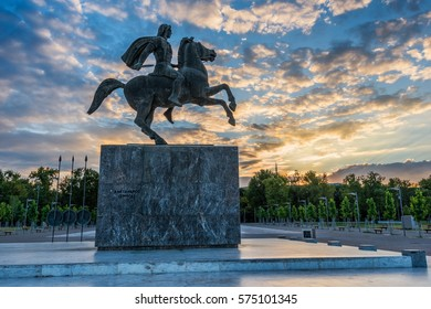 Statue of Alexander the Great at sunrise in Thessaloniki, Greece