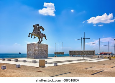 The Statue of Alexander the Great at sunrise in Thessaloniki, Greece