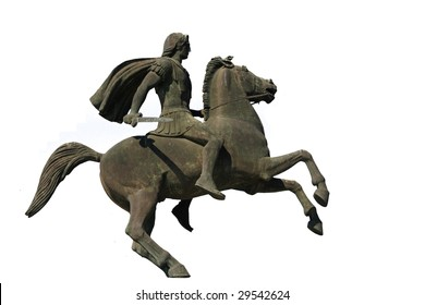 Statue of Alexander the Great at Thessaloniki city in Greece isolated on white
