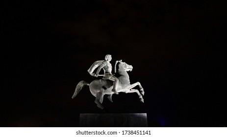 Statue of Alexander the Great in Thessaloniki at night with lights / Thessaloniki, Greece / 30 August 2019