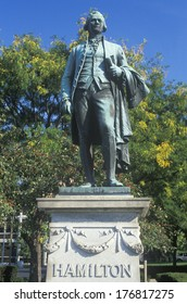 Statue of Alexander Hamilton overlooking the Great Falls in Paterson, New Jersey