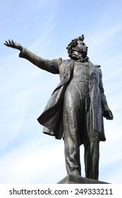 Statue of Alexander Pushkin, famous Russian poet. Arts Square, St.Petersburg, Russia.