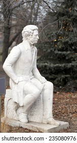 Statue of Alexander Pushkin in the park is photographed close-up