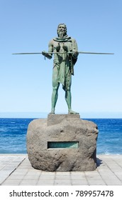 Statue of Anaterve, a Guanche chief or a mencey, part of the nine statues of pre-Hispanic kings situated in Plaza de la Patrona de Canarias, in Candelaria, Tenerife, Canary Islands, Spain