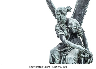 Statue of ancient beautiful winged angel in downtown of Potsdam, isolated at white background, Germany