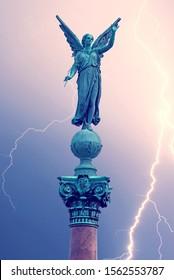 Statue of ancient goddess Victoria (Nick) with palm branch in hand at Langelinie Park in Copenhagen, Denmark.
