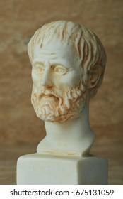 Statue of ancient Greek philosopher Aristotle.