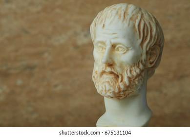 Statue of ancient Greek philosopher Aristotle. .