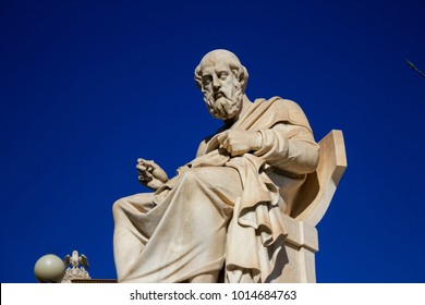 Statue of the ancient Greek philosopher Plato in front of the Academy of Athens in Athens, Greece.