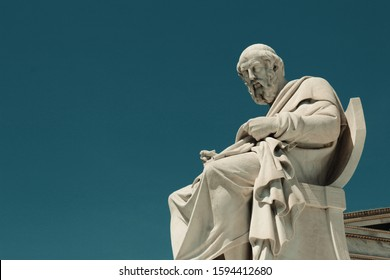 Statue of the ancient Greek philosopher Plato in Athens, Greece.
