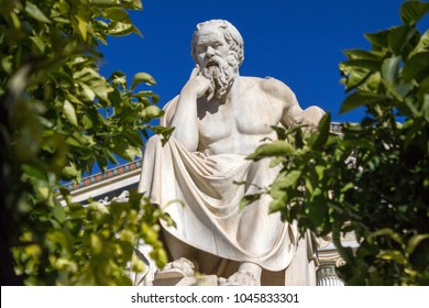 Statue of the ancient Greek philosopher Socrates in front of the Academy of Athens, Greece.