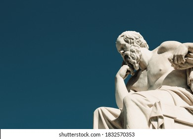 Statue of the ancient Greek philosopher Socrates in Athens, Greece, October 9 2020.