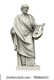 Statue of the ancient Greek  poet Homer, the author of the Iliad and the Odyssey. Isolated on white