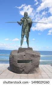 Statue of an ancient native Guanche at the Plaza de la Candelaria. One of the guanche Kings, the statue of the aboriginal king, Tenerife, Canary Island. Candelaria, Tenerife, Spain - 2019.