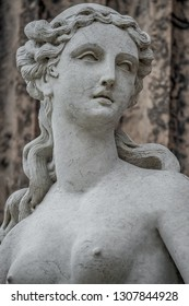 Statue of ancient sensual naked Renaissance Era woman in Potsdam, Germany