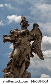 Statue of the Angel Carrying the Superscription standing on the bridge leading to the Castle Sant'Angelo, Rome. Designed by Bernini for Pope Clement IX.