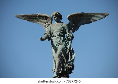 statue of an angel in central park