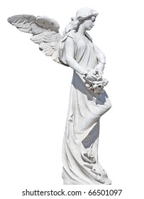 3e1534cbf0b Statue of an angel with flowers isolated on white with clipping path
