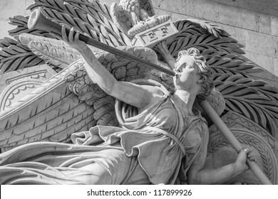 Statue of angel on the Arc de Triomphe in Paris, France