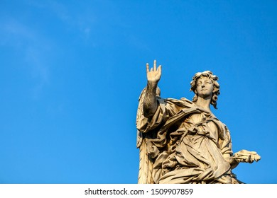 Statue of an angel on the Bridge of the Holy Angel (Eliev) in Rome, Italy.