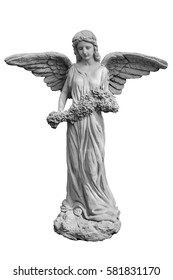 Statue of an angel on white background