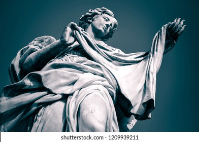 Statue of Angel with the Sudarium, Veronica's Veil. Ponte Sant' Angelo, Rome, Italy. Toned image